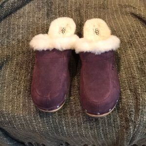 Genuine UGG shearling lined suede clogs